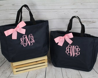 6 Personalized Bridesmaid Gift Tote Bags Bridesmaids Gifts Monogrammed Totes Bridal Party Gifts 3 Letter Monogram