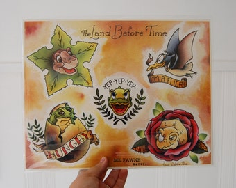 The Land Before Time Tattoo Flash Sheet