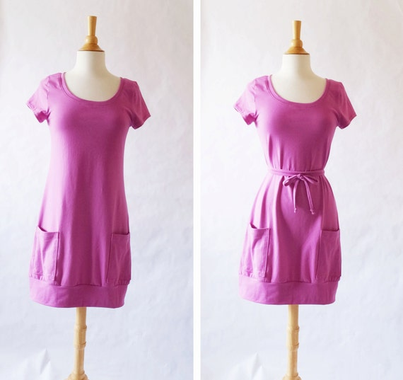 SALE Fuchsia Size SMALL Tunic Dress Short sleeve Womens Mini Dress deep Pockets Cotton Jersey knee length scoop neck tee - Ready to Ship