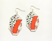 Red Ribbon and Branches Hwatu card earrings