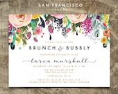 Brunch and Bubbly Invitation |  Printable Bridal Shower Invite | Floral, Pink, Script |  Ashley Collection  | Digital File