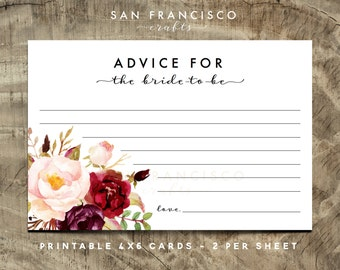 Advice for the Bride Cards, Bridal Shower Insert - roses, 4''x6'', Holly Collection, Printable  - INSTANT DOWNLOAD PDF File