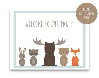 Woodland Party Welcome Sign | Woodland Baby Shower Welcome Sign | Woodland Birthday Banner - PRINTABLE