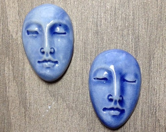 Pair of Two Medium Almond Ceramic Face Stone Cabochons in Water Blue