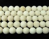 White Petrified Wood Agate Matte Round Gemstone Beads