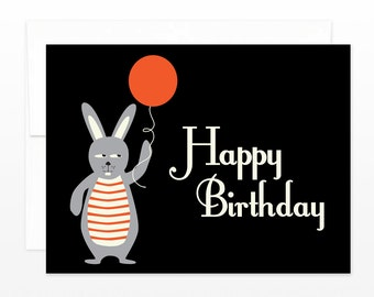 Funny Birthday Card - Rabbit with a Red Balloon Greeting Card, Simple Birthday Greeting, Cute Birthday Card, Card for Children, for Friends