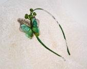 Silk and Organza Emerald Green Butterfly Headband