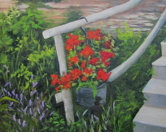 Geraniums on Steps  oils on canvas Barbara Haviland BarbsGarden framed