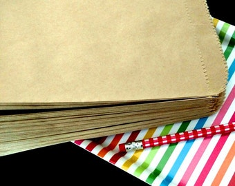 """FREE SHIPPING 50 Kraft Paper Flat Sacks for DIY Party or Etsy Shop Packaging, 8"""" x 11"""" size"""
