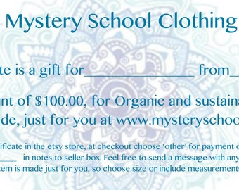 Organic Clothing- 100 Dollar Gift Certificate includes  free shipping on order when finished