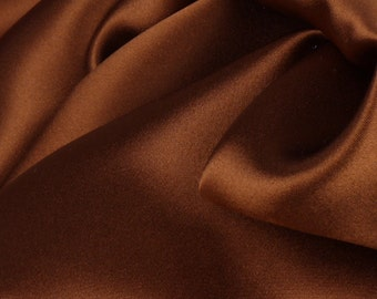 "Brown 100% Silk Satin Charmeuse - 45"" Wide - 1 1/3 Yard (FABSCH-BN)"