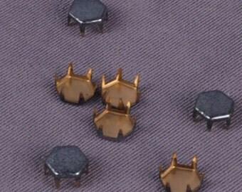 Grey Hexagon Metal Stud - 7mm - 100 Pieces (MS7GYHX-100)