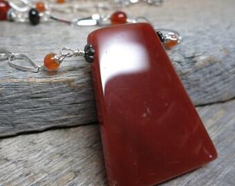Autumn Equinox 2016 necklace ... red jasper / carnelian / garnet / silver