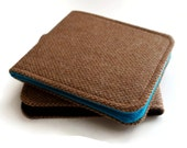 Mens Wallet / Super Thin Minimalist Tweed Wallet / Brown Herringbone Wool / Non-Leather Wallet