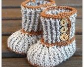Soft Alpaca Wool Crochet  Baby Booties - 6-12 mths - light brown - crochet booties - baby booties - baby gift - slippers - baby booty