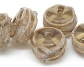 Handmade lampwork beads SRA. Aged brown and raku beads. Make to order