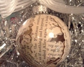 Alice in Wonderland Christmas Ornament, Literary Gift, Ornament, Book Lover Gift, Holiday Ornament, Book Page Ornament