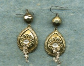 Gold and sparkling dangle earrings, vintage elements, silver ear wires, drop earrings, dangle earrings, gold, pearl and crystal drops,
