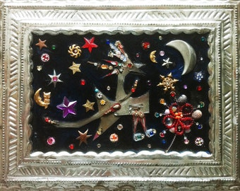 BINDI BIRD, assemblage, collage, tin bird, vintage tin frame, jewels and bindis. bird, wall hung, table display,unique art, ooak, moon,stars