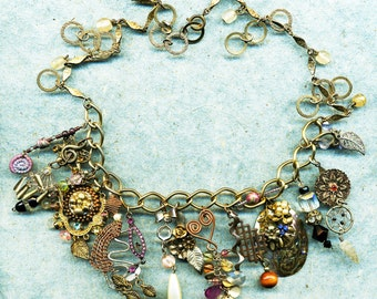Ornate charm necklace,handmade charms, vintage charms, necklace of charms, necklace, OOAK charms, charms, chain of jewels and rings, fancy