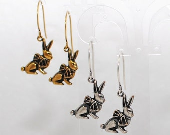 Rabbit Earrings Bunny Jewelry Mitzie & Ritzie in Antique Gold or Silver