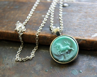 Unicorn Necklace - Vintage turquoise swirl unicorn pendant