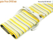 Sale 25% OFF Large Knitting Needle Case Organizer - Yellow Matters - 30 gray pockets for circular, straight, dpn, or paint brushes