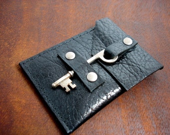 Leather Business Card Holder with Quirky Vintage Key Closure - Business Card Case - Black Leather Card Wallet