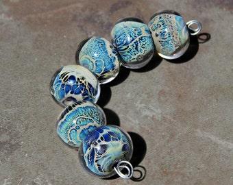 Azores - Handmade Glass Lampwork Round Beads SRA MTO elasia