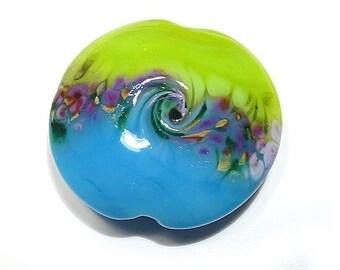 Handmade Glass, Lampwork Glass Bead, Bright Gardens, Jumbo Lentil, Lampwork Bead