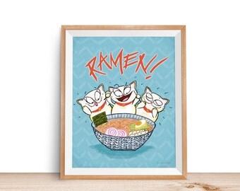 Ramen print art illustration 8x10 Japanese noodle soup cats Maneki neko manekineko kawaii otaku poster food print