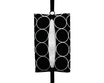Auto Sneeze - Rings - Visor Tissue Case/Cozy - Car Accessory Automobile Black and White Circles