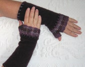 Fingerless Purple Cashmere Gloves  /made from recycled cashmere Sweaters 292