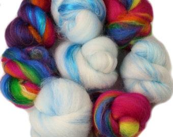Brighter Days battlings -- mini batts (2 oz.) organic polwarth wool, bamboo, silk, sparkle.