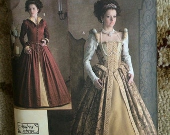 Simplicity Pattern 3782-Elizabethan Renaissance Gown Costumes Pattern-OOP-Size HH-6,8,10,12-Andrea Schewe-New and uncut