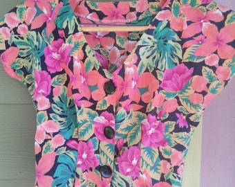 Vintage 80s Tropical Floral Bit Buttoned Cropped Shirt Top Blouse Size S/M