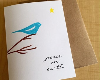 Peace on Earth Bird Cards - Peace Bird Holiday Cards - Blue Bird Peace Cards - Hand Printed Greeted Holiday Cards - Box of 6