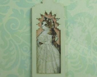 Dollhouse Miniature Framed Cat in White Art Print
