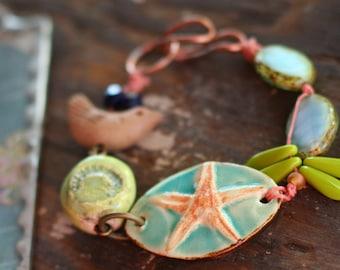 Ocean Jewelry, Beach Bracelet, Starfish, Ceramic Beads, Blue and Green, Boho Bracelet