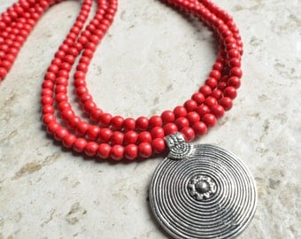 Rory - Red Magnesite Silver Pendant Long Multi Strand Necklace