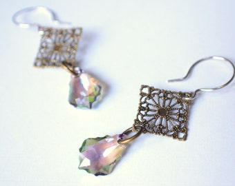 The Natalee- Purple Haze Swarovski and Brass Filigree Dangle Earrings