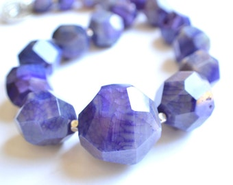 The Gemma- Purple Agate Chunky Necklace