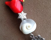 Winter Cardinal snowflake ice lampwork beads pendant necklace