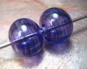 veiled hollow pair in deep purple (2) lampwork glass beads