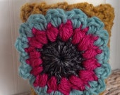 Coffee Cup Cozy Crochet Flower on Cream Sleeve, Holder, Tea, Latte Cozie, Turquoise, Gray, Hot Pink on Butterscotch Sleeve