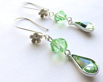 Peridot Green Drop Earrings - Long Glass Dangle Earrings - August Birthstone - Sterling Silver and Lime Green Earrings - Modern Earrings