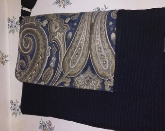 Navy Pinstripe with Paisley Accent-Lando Messenger Bag