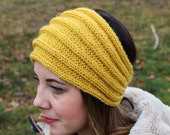 Yellow Knit Vegan Headband - Panta Finnish Headband - Ear Warmers - Boho Headband - Winter Hair Accessory - Womens Gift - Gift for Her