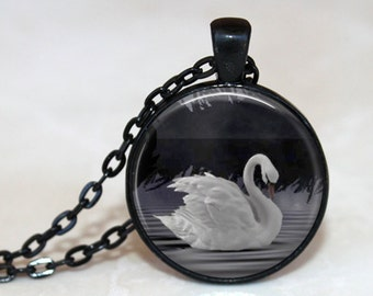 Swan Lake - Artist's Glass Tile Pendant Necklace - AshenSorrowDesign
