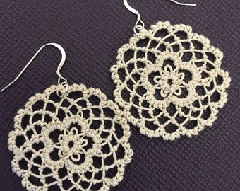 Fusion Lace Earrings - Daisies - Tatting and Armenian Lace